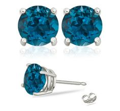Do you like this color? 2 Carat London Blue Topaz Studs in Sterling Silver - starting at $5 in Jewelry!