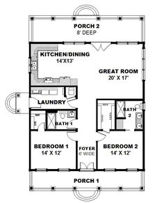 Country House Plan 64564 Level One Flipped to the bedrooms in the back