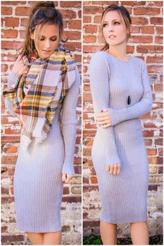 Cold Weather Dreams Gray Ribbed Midi Sweater Dress – Amazing Lace