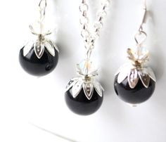 Black Bridesmaid jewelry set of black necklace by LaurinWedding, $15.00