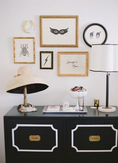 jennifer ament art wall // coco+kelley house tour shot by katie parra #vanity #dresser #bedroom #vignette