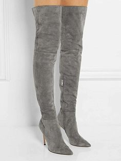 Shop Gray Suedette Split Back Heeled Over the Knee Boots from choies.com .Free shipping Worldwide.$109.9