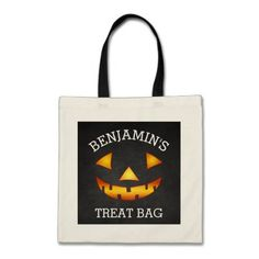 Personalized Halloween Pumpkin Treat Tote Bag - click/tap to personalize and buy