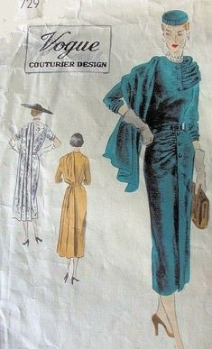 Vogue 729 stunning suit pattern 50s teal gold dress jacket skirt swag shawl collar fashion style color illustration print ad model