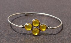 Citrine Quartz Four Gemstone Attached Bangle by gemsnjewelryworld