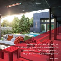 Top architects like Mario Romano understand the importance of outdoor heat for a beautiful backyard space that can be enjoyed year-round. Indoor Outdoor, Outdoor Decor, Heating And Cooling, Your Space, Architects, Backyard, Top, Beautiful, Patio