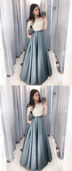 Dramatic Two Piece Long Prom Dresses with Sleeves, Off the Shoulder Grey Prom Dress with Pockets, Hottest Long Prom Party Dresses for Teens Grey Prom Dress, Elegant Prom Dresses, Cheap Evening Dresses, Dress Lace, Dress Formal, Prom Dresses For Teens Long, Dresses Dresses, Wedding Dresses, Dresses Online