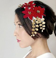 Christmas Headband Holiday Hair accessory Red Poinsettia by deLoop, $45.00