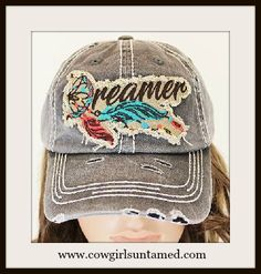 """CUTE BASEBALL COWGIRL CAP! """"Dreamer"""" with Embroidered Feather Accent Grey Cap #cowgirl #boho #feather #distressed #fashion #boutique #beautiful #western #cap #dreamer #onlineshopping"""