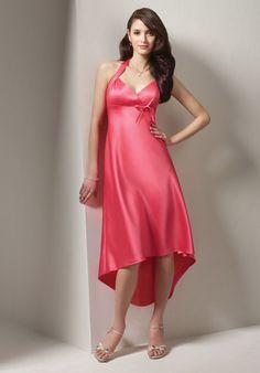 Halter V-neck Satin Red Asymmetric Design Tea Length Dress