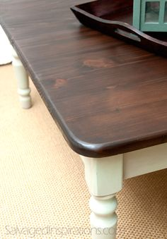 Salvaged Inspirations | Painted Pine Coffee Table Stained w General Finishes Java Gel Stain on hard to stain Pine!