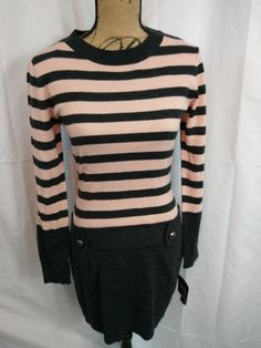 00362db535 NWT By  amp  By Downtime Sweater Dress Pink and Gray Long Sleeve Size Medium  New