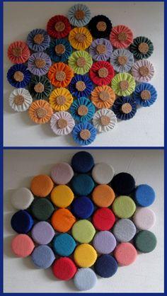 Descanso de panela Cd Crafts, Diy Home Crafts, Crafts To Do, Handmade Crafts, Sewing Crafts, Sewing Projects, Arts And Crafts, Bottle Cap Art, Bottle Top
