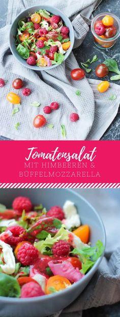 Tomatensalat mit Himbeeren & Büffelmozzarella. Das perfekte, leichte Rezept für Frühling und Sommer!