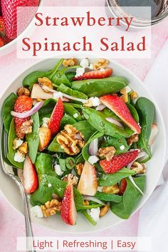 Perfect for summer entertaining, this quick and easy Strawberry Spinach Salad is a delicious healthy dish you'll want to add to your summer menu. #StrawberrySalad #SpinachSalad #SweetandSavouryPursuits Savory Salads, Healthy Dishes, Healthy Salad Recipes, Spinach Strawberry Salad, Spinach Salad, Walnut Salad, Side Salad, Arbonne, Salad Dressing