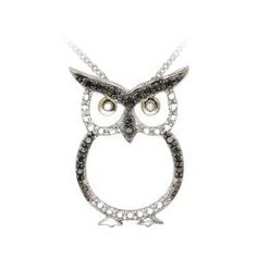 Sterling Silver Black Diamond Accent Owl Necklace