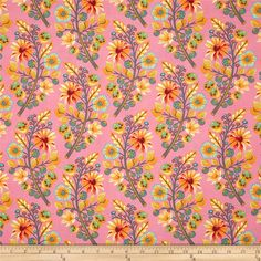 Tula Pink Moon Shine Sprout Blush from @fabricdotcom  Designed by Tula Pink for Free Spirit, this cotton print is perfect for quilting, apparel and home decor accents.  Colors include pink, grey, yellow, orange, red, lime and aqua.