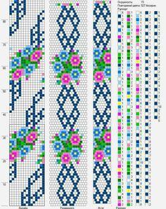 Bead crochet rope pattern - little flowers on a garland - 15 around, 9 colors Crochet Bracelet Pattern, Crochet Beaded Bracelets, Bead Crochet Patterns, Bead Crochet Rope, Bead Loom Bracelets, Beading Patterns, Beaded Crochet, Free Crochet, Peyote Patterns