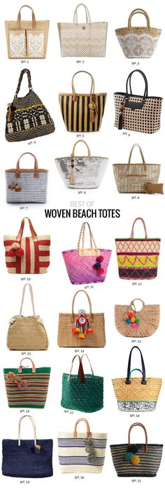 // Best Of: Woven Beach Totes by Modern Eve beach bag DIY, best beach straw cruise travel tote bag, different patterns, family bid large oversized waterproof fashion trendy chic stylish cute summer canvas 2018 perfect bags Summer Bags, Summer Diy, Summer Wear, Beach Wardrobe, Look 2015, Straw Tote, Straw Beach Tote, Beach Accessories, Basket Bag