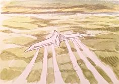 Images Drawn for the Nausicaa Motion Picture ===== Released in March of 1984 - image boards, tapestries drawn for the opening, etc ===== Notes: Image board of a gunship in flight