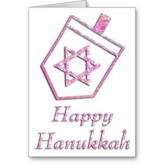 Pink Dreidel Happy Hanukkah Greeting Card 4