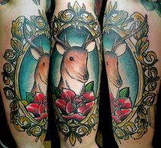 deer in a frame tattoo by kirk nilsen by Kirk Edward Nilsen II: Tattooer, via Flickr