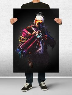 $10 - Soldier 76 Overwatch Poster Art Print Watercolor Wall Decor Game Print Poster #ebay #Collectibles