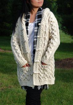 Hand Knit Women Chunky Cable Aran Irish Fisherman Sweater Coat