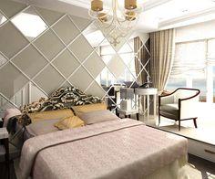 Спальня, Дизайн маленькой спальни, Увеличение спальни, Подиум в спальне, Зеркала в интерьере, Зеркальная стена в спальне