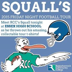 ANNOUNCING Squall's 2015 Friday Night Football Tour! Tonight Squall will be out at Essex High School to cheer on the Essex Trojans and the King William Cavalier! Squall will be throwing his one-of-a-kind football tour t-shirts to the crowd! Meet Squall tonight at Essex High School! #nnk #football #kingwilliam #kingwilliamcounty #essextrojans #essexhighschool #tappahannock #va #highschool #fridaynightlights #essex #essexcounty #kingwilliamcavaliers #nnk #northernneck #northerneckva #seagull