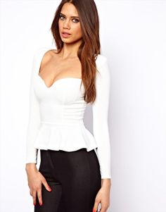 Oh My Love Peplum Top with Sweetheart Neckline