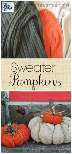 The Chic Technique: These sweater pumpkins are awesome! Have old sweaters laying around? Turn them into these cute pumpkins no sewing required! Cute Pumpkin, Diy Pumpkin, Pumpkin Crafts, Fall Halloween, Halloween Crafts, Halloween Decorations, Fall Decorations, Seasonal Decor, Sweater Pumpkins