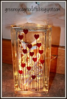 Looking for some adorable DIY Valentines Day Decor Ideas? Here is a round up of the BEST Valentines Day decorations for February that I bet you'll love Painted Glass Blocks, Decorative Glass Blocks, Lighted Glass Blocks, Glass Cube, Glass Boxes, Glass Art, Glass Block Crafts, Wood Craft Patterns, Girl With Green Eyes