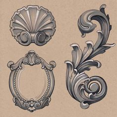 Grey Mirror Frame And Filigree Tattoos Print