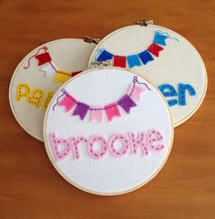 Personalized Felt and Embroidery Hoop Art by AlleycatandCo, $20.00