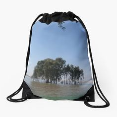 'Tree in water' Drawstring Bag by MyGrandpa Iphone Wallet, Drawstring Backpack, My Arts, Backpacks, Art Prints, Printed, Awesome, Water, Photos
