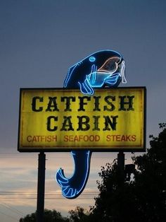 neon sign for catfish cabin