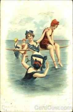 Bathing Beauties ~ Vintage postcard, early 1900s.
