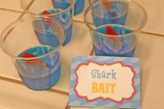 Blue Jello with Swedish fish shark bait