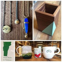 Vermont Artist Appreciation! In our gallery we have hundreds of artists from all across the USA, here are just a few of the locals we love! #stowecraftgallery #vermontbyvermonters #jewelry #necklace #handmade #handcrafted #wood #woodworking #handpainted #mugs #pottery #ceramics #mountain #cupoflove #bike #dedadesigns #bethmueller #local #artist