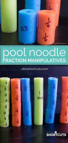 DIY Pool Noodle Fraction Manipulatives Have a little one learning fractions? Make these DIY Pool Noodle Fraction Manipulatives. Perfect for homeschooling, or just to help with homework. Learning Fractions, E Learning, Math Fractions, Teaching Math, Maths, Dividing Fractions, Equivalent Fractions, Multiplication, Fraction Activities