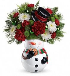 Teleflora's Snowman Cookie Jar Bouquet in Duquesne PA, Kopriver's Florist & Greenhouse