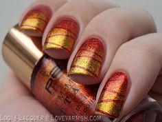 Striped gradient - orange and yellow - sunrise nail Get Nails, Love Nails, Pretty Nails, Fall Nails, Best Nail Art Designs, Fall Nail Designs, Tape Nail Art, Beauty Nail, Seasonal Nails