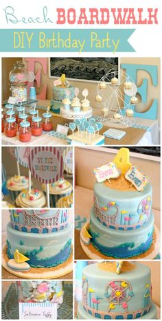 Adorable Beach Boardwalk birthday party idea from TheDomesticHeart.com