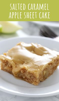 Salted Caramel Apple Sheet Cake features an ultra tender, slightly spongey cinnamon apple cake with a thick and shiny salted caramel glaze. Perfect for serving a crowd during the holidays! for a crowd, Salted Caramel Apple Sheet Cake Apple Desserts, Fall Desserts, Apple Recipes, Just Desserts, Sweet Recipes, Baking Recipes, Delicious Desserts, Dessert Recipes, Yummy Food