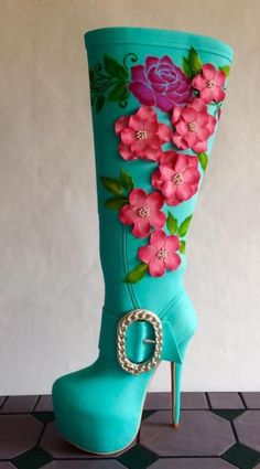Teal colored high heel boot by Antonio Balbuena