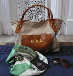 monogrammed canvas/leather tote