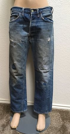 LEVIS BIG E RED LINE JEANS BUTTON FLY DISTRESSED MINING TRASHED 32X28 UNISEX #LevisBigE