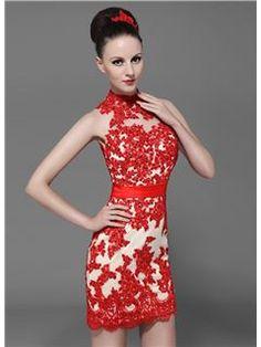attractive high neck zipper-up lace short/mini cocktail dress
