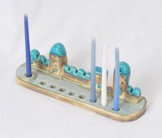Ceramic Menorah with tiny houses of Jerusalem by SergioFaingold, $90.00